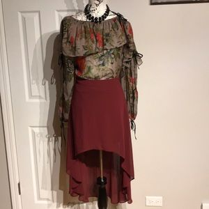Dresses & Skirts - Wine Burgundy Sheer Party A-line Fit Flare Casual